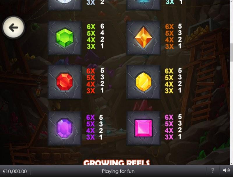Hot Gems Xtreme :: Paytable - Low Value Symbols