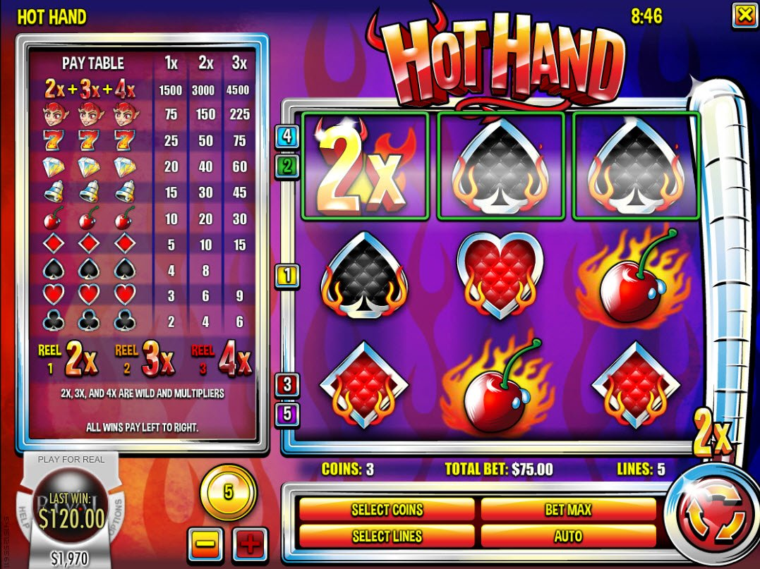 Play slots at CoCoa: CoCoa featuring the Video Slots Hot Hand with a maximum payout of $22,500