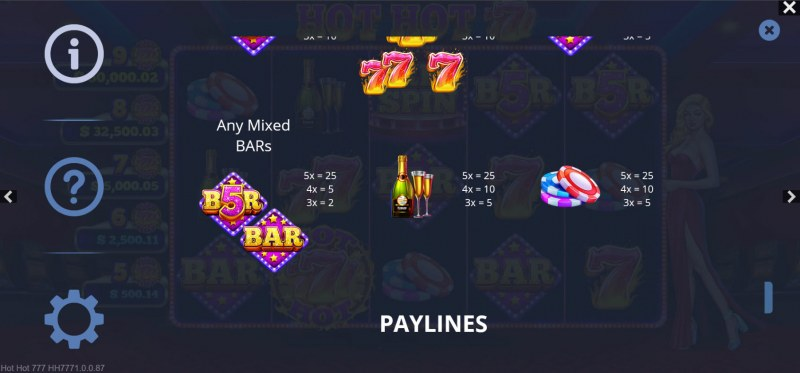 Hot Hot 777s :: Paytable