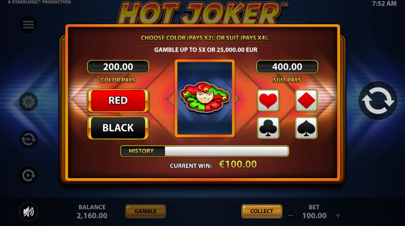 Hot Joker :: Gamble feature is available after every win