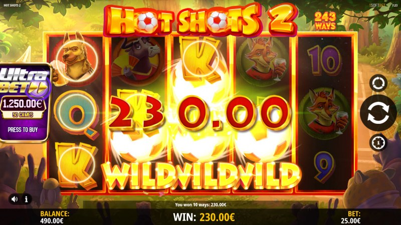 Hot Shots 2 :: Wild feature triggers multiple winning paylines