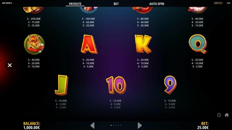Hot Shots 2 :: Paytable - Low Value Symbols