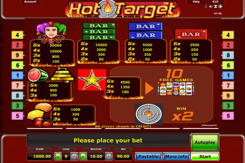 Hot Target :: Paytable