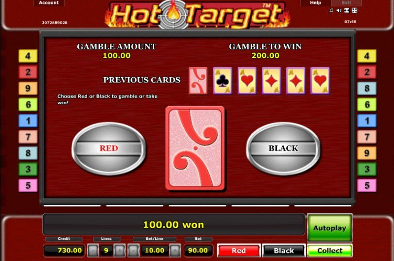 Hot Target :: Black or Red Gamble Feature