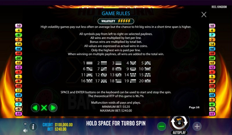 Hot to Burn Hold & Spin :: General Game Rules