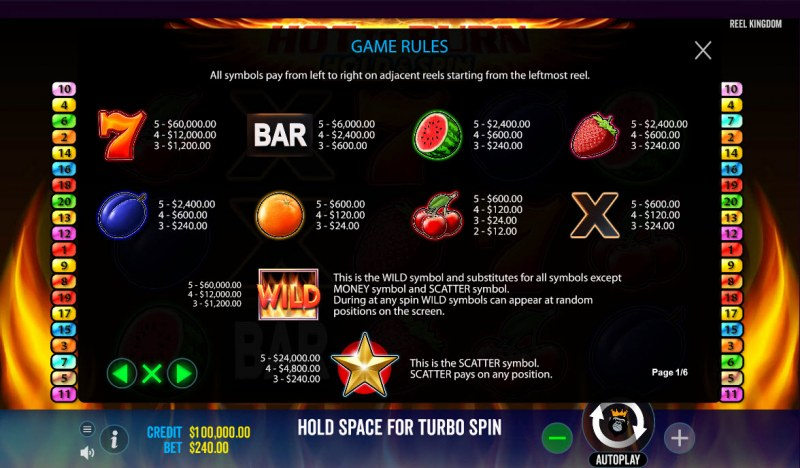 Hot to Burn Hold & Spin :: Paytable