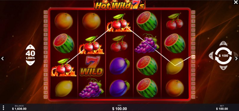 Hot Wild 7s :: A three of a kind win