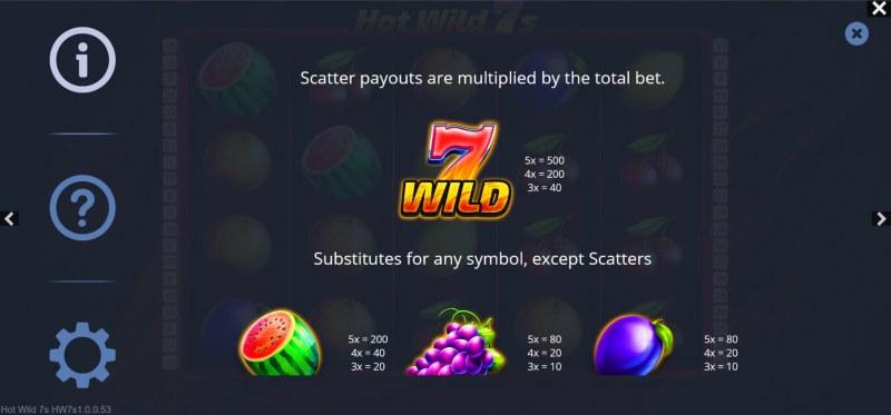 Hot Wild 7s :: Paytable - Medium Value Symbols