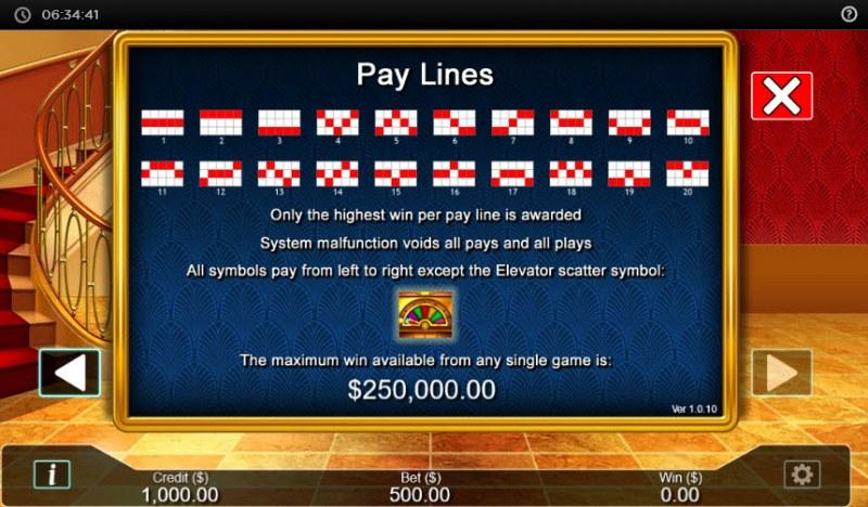 Hotel  dot Cash :: Paylines 1-20