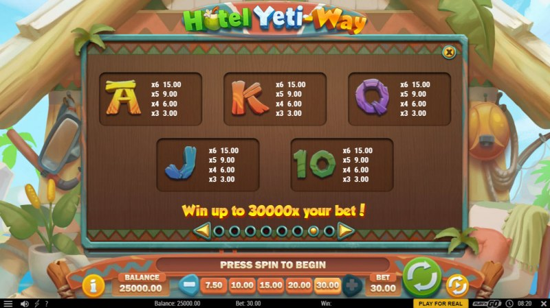 Hotel Yeti Way :: Paytable - Low Value Symbols