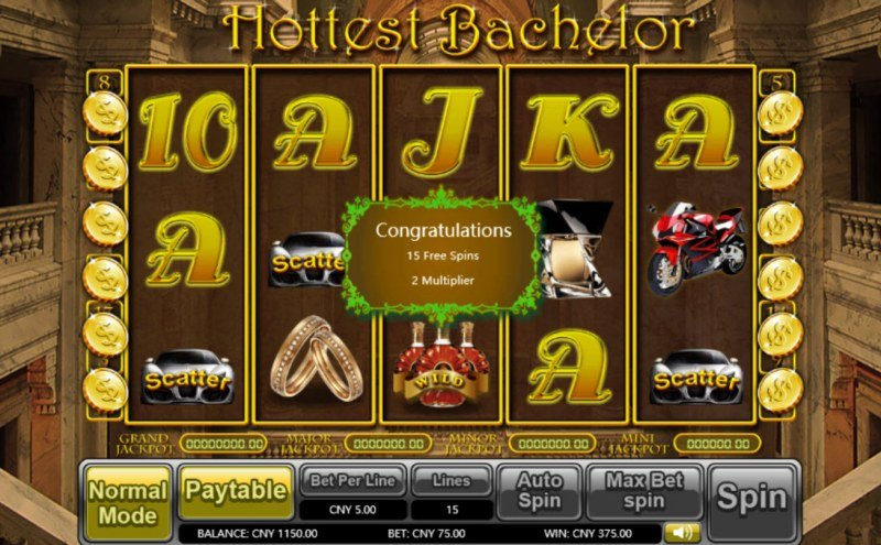 Hottest Bachelor :: Scatter symbols triggers the free spins feature