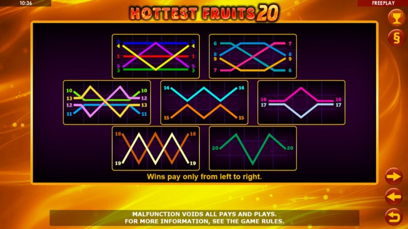 Hottest Fruits 20 :: Paylines 1-10