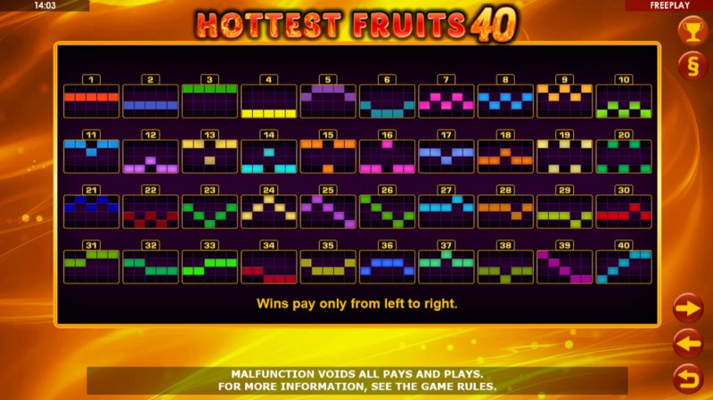Hottest Fruits 40 :: Paylines 1-50