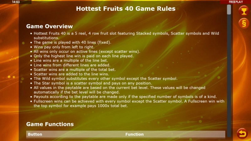 Hottest Fruits 40 :: General Game Rules