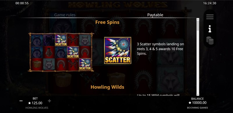 Howling Wolves :: Free Spin Feature Rules