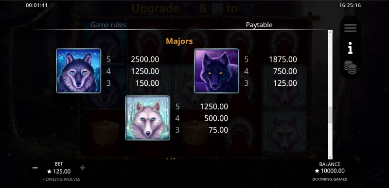 Howling Wolves :: Paytable - High Value Symbols