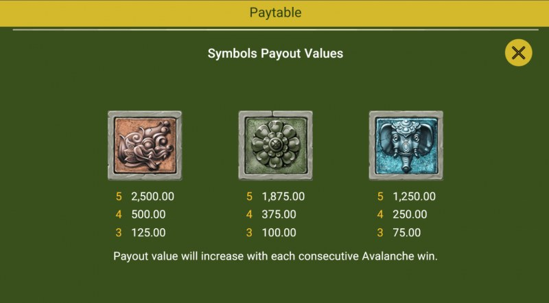 Hugon Quest :: Paytable - Low Value Symbols