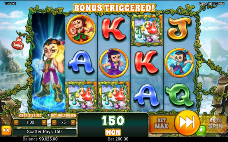 Huluwa :: Scatter symbols triggers the free spins bonus feature