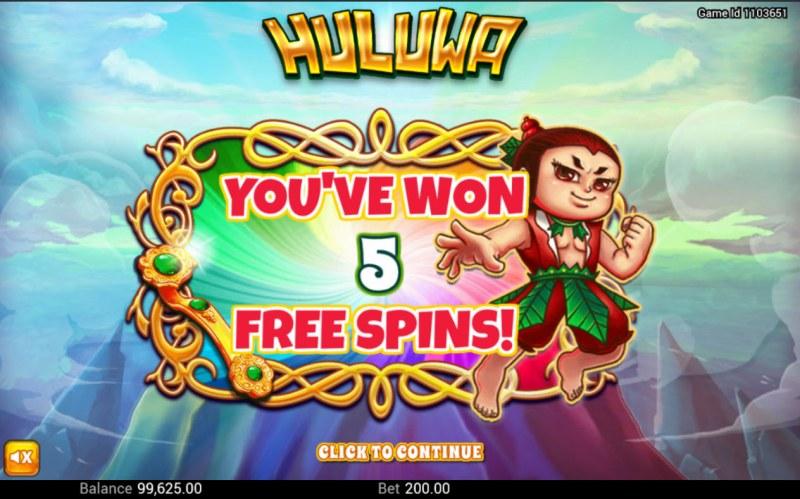 Huluwa :: 5 free spins awarded