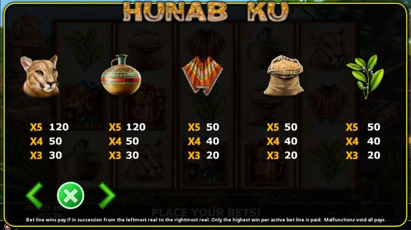 Hunab Ku :: Paytable - Low Value Symbols