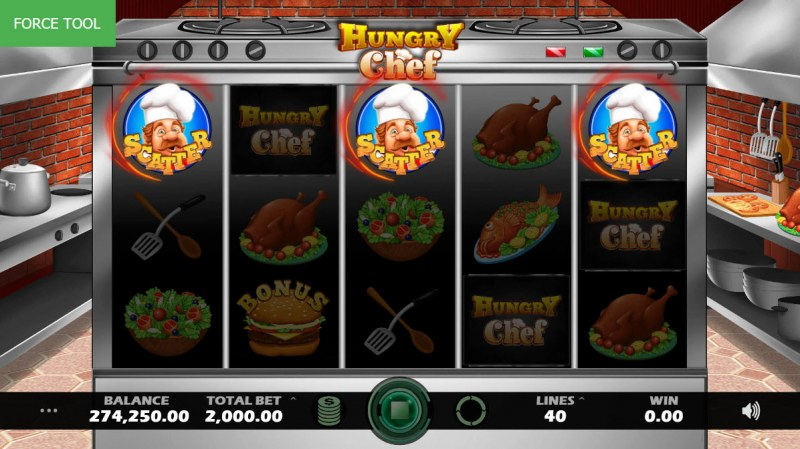 Hungry Chef :: Scatter symbols triggers the free spins feature