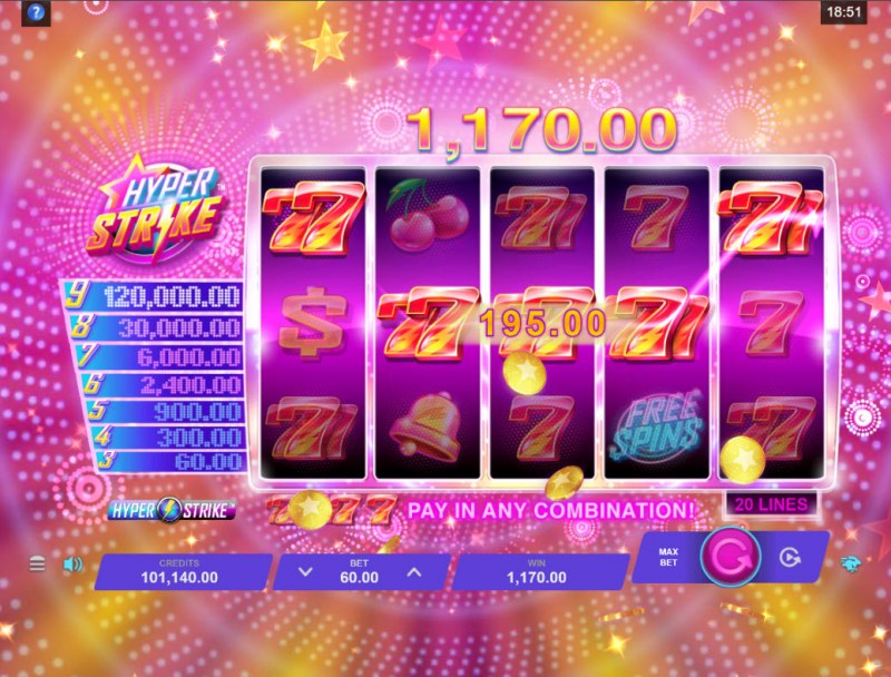 Hyper Strike :: Multiple winning combinations