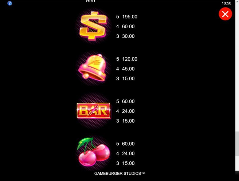 Hyper Strike :: Paytable - Low Value Symbols