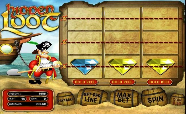 Play slots at 7 Gods Casino: 7 Gods Casino featuring the Video Slots Hidden Loot with a maximum payout of $375