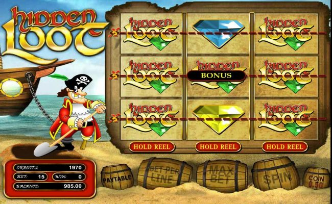 Gossip Slots featuring the Video Slots Hidden Loot with a maximum payout of $375