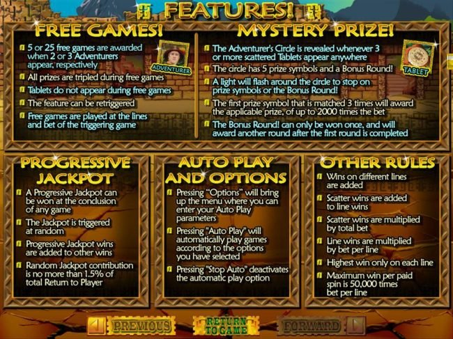 Free Games, Mystery Prize and Progressive Jackpot Rules.