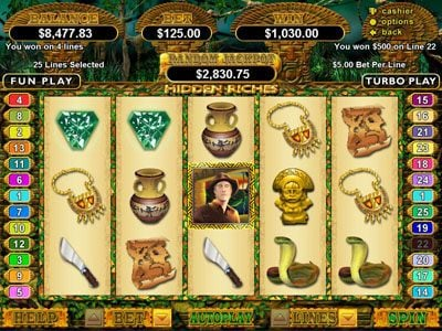 Slotastic featuring the Video Slots Hidden Riches with a maximum payout of $250,000