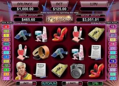 Play slots at Slotnuts: Slotnuts featuring the Video Slots High Fashion with a maximum payout of $250,000