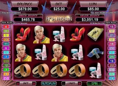 Slots.com featuring the Video Slots High Fashion with a maximum payout of $250,000