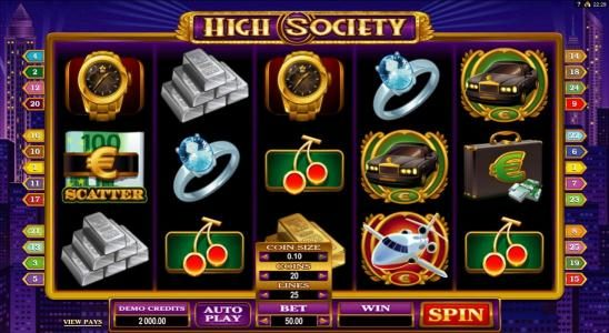 Play slots at Zodiac: Zodiac featuring the Video Slots High Society with a maximum payout of $6,000