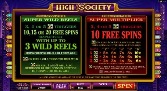 Music Hall featuring the Video Slots High Society with a maximum payout of $6,000