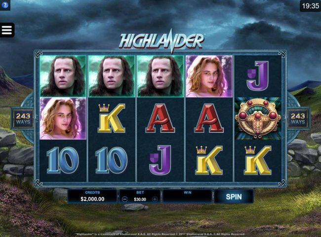 Cabaret Club featuring the Video Slots Highlander with a maximum payout of $102,500