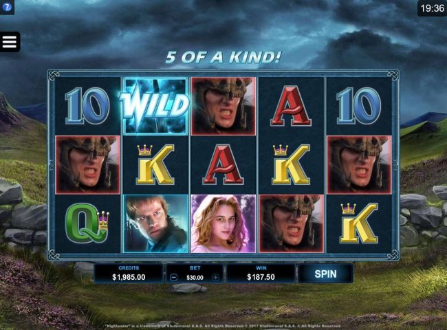 Wild Jackpots featuring the Video Slots Highlander with a maximum payout of $102,500