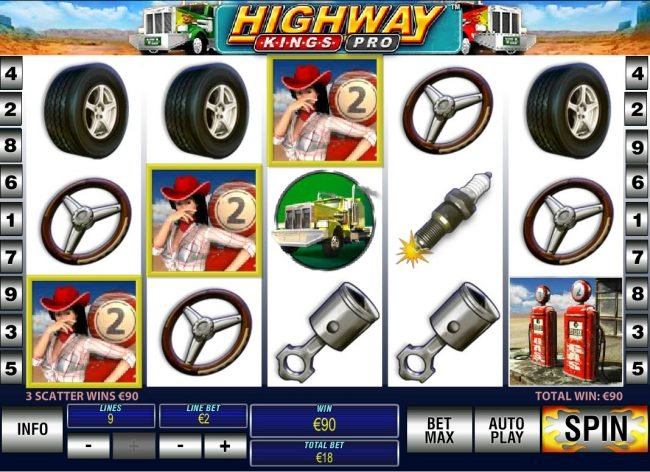 Betfair featuring the Video Slots Highway Kings Pro with a maximum payout of $1,000,000