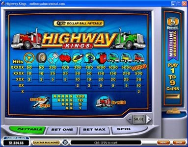 Play slots at Casino.com: Casino.com featuring the Video Slots Highway Kings with a maximum payout of $50,000