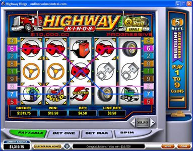 Winner Online featuring the Video Slots Highway Kings with a maximum payout of $50,000