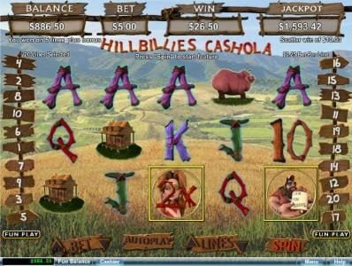Grand Rush featuring the Video Slots Hillbillies Cashola with a maximum payout of $250,000