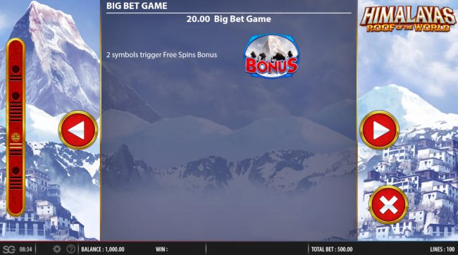 All Irish featuring the Video Slots Himalayas Roof of the World with a maximum payout of $250,000