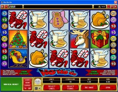 Play slots at UK Casino Club: UK Casino Club featuring the Video Slots Ho Ho Ho with a maximum payout of $75,000