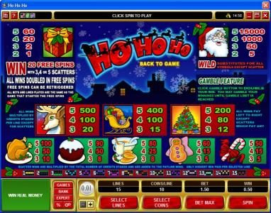 Music Hall featuring the Video Slots Ho Ho Ho with a maximum payout of $75,000