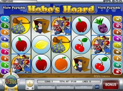 Gibson featuring the video-Slots Hobo's Hoard with a maximum payout of $37,500