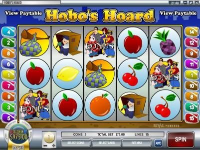 Royal Planet featuring the video-Slots Hobo's Hoard with a maximum payout of $37,500