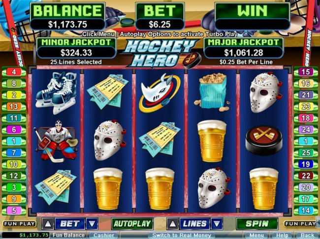 A sports themed main game board featuring five reels and 25 paylines with a $250,000 max payout