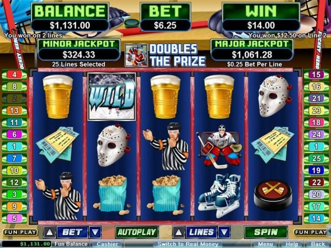 Wild Vegas featuring the Video Slots Hockey Hero with a maximum payout of $250,000