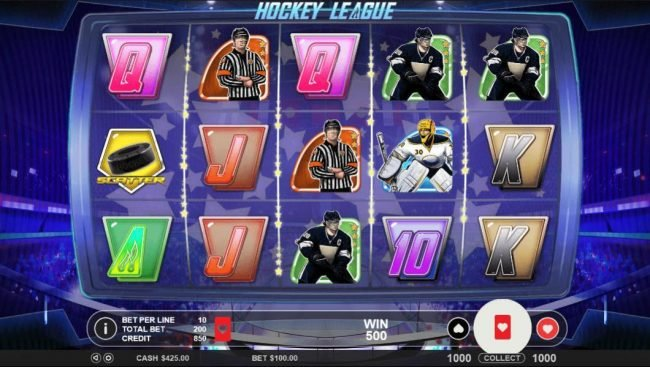 Mayflower featuring the Video Slots Hockey League with a maximum payout of $5,000