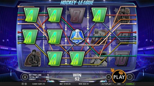 Winward featuring the Video Slots Hockey League with a maximum payout of $5,000